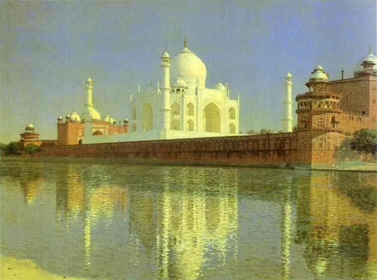 Oil painting:Taj Mahal Mausoleum in Agra. 1874
