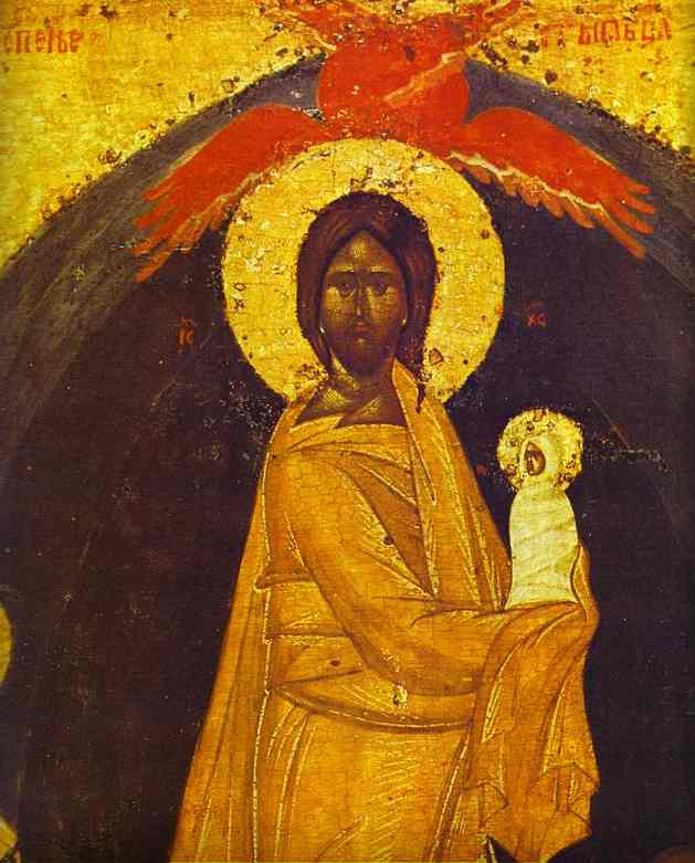 Oil painting:The Dormition. Detail. The reverse of The Don Virgin icon. Late 14th century.