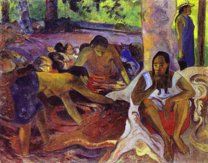 Oil painting:The Fisherwomen of Tahiti. 1891
