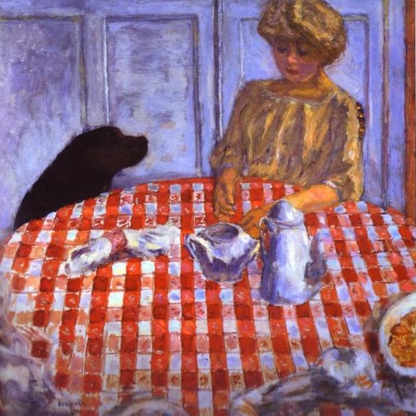 Oil painting:The Red-Checkered Tablecloth. 1910