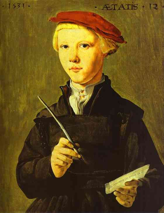 Oil painting:The Schoolboy. 1531