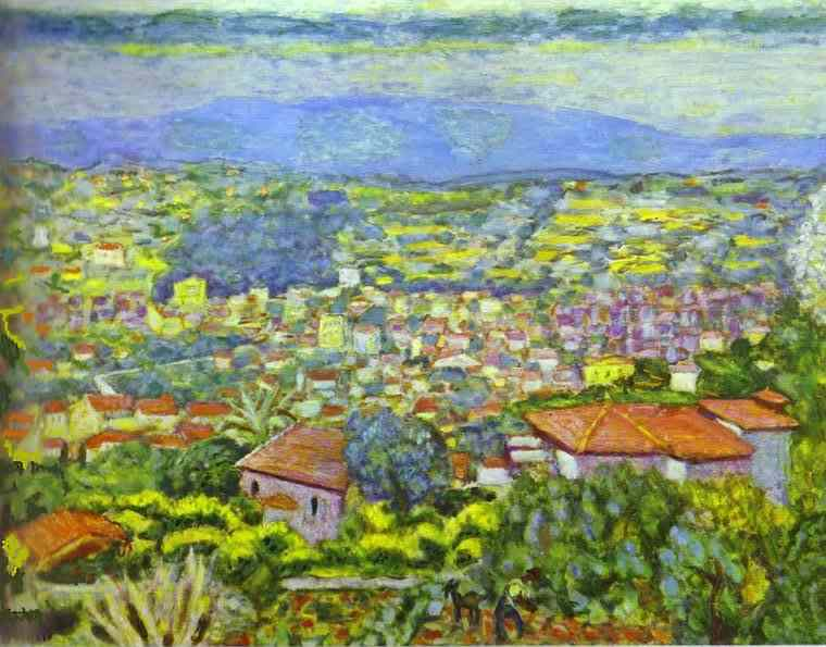 Oil painting:View of Le Cannet, Roofs. 1941