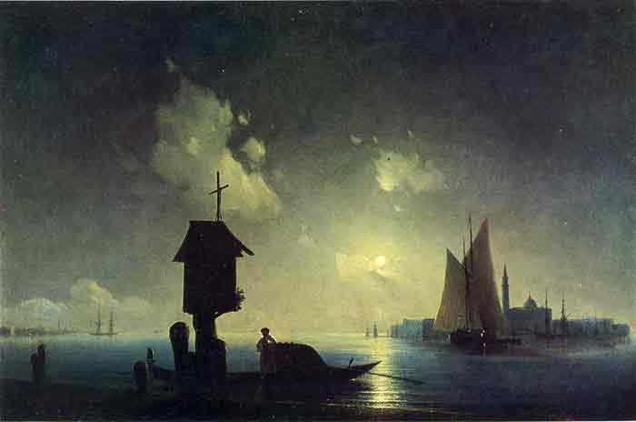 Oil painting for sale:Sea View with a Chapel, 1845