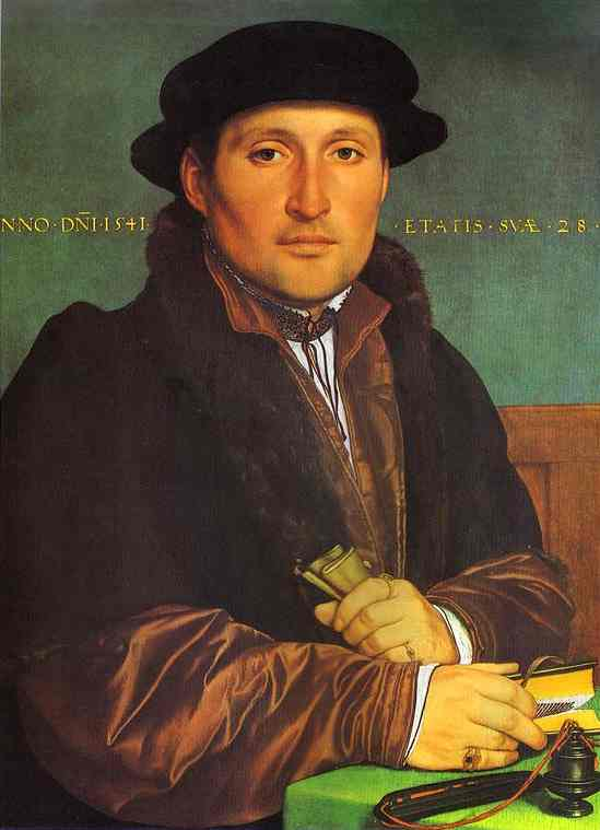 Oil painting:Portrait of Unknown Young Man at his Office Desk. 1541