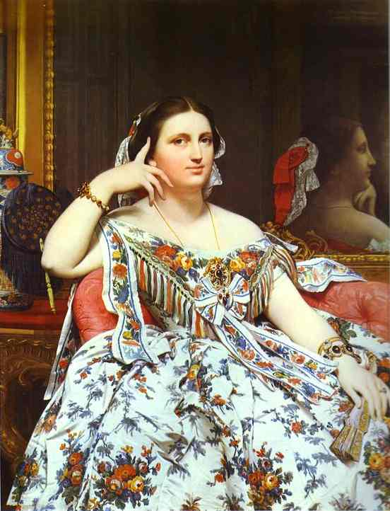 Oil painting:Portrait of Madame Moitessier Sitting. 1856