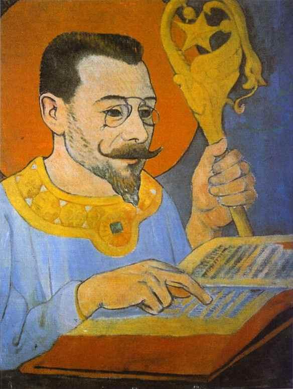 Oil painting:Portrait of Paul Ranson Dressed as a Prophet/Portrait de Paul Ranson en tenue nabique.