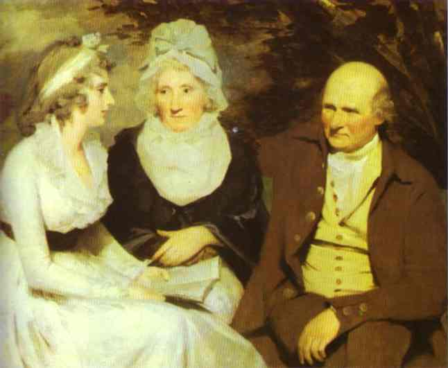 Oil painting:Portrait of John Johnstone of Alva, His Sister, and His Niece. c.1805