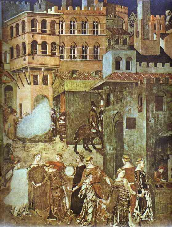 Oil painting:Allegory of Good Government: Effects of Good Government in the City. Detail. 1338