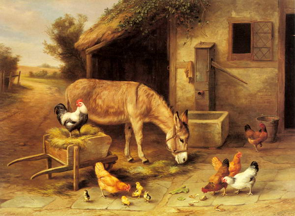 A Donkey and Chickens Outside a Stable