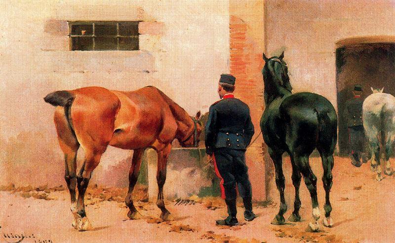 Artilleryman Looking after Horses