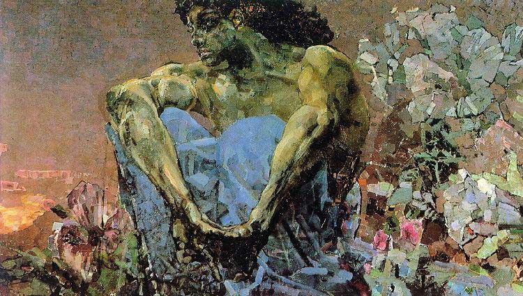 Demon Seated in a Garden
