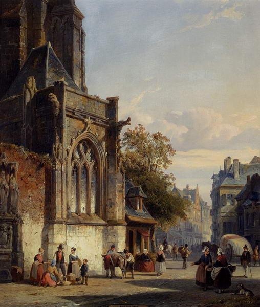Town Square, Before a Church - a Capriccio