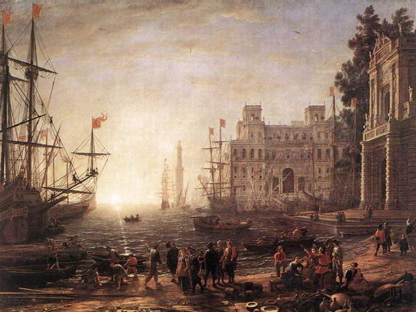 Port Scene with the Villa Medici