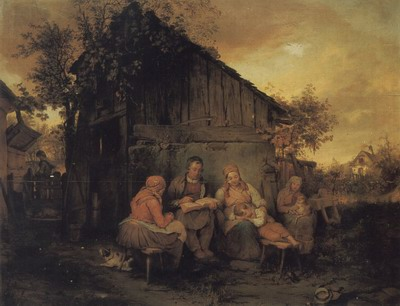 A Family Resting At Sunset