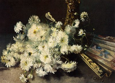 A Still Life With Chrysanthemums And A Fan