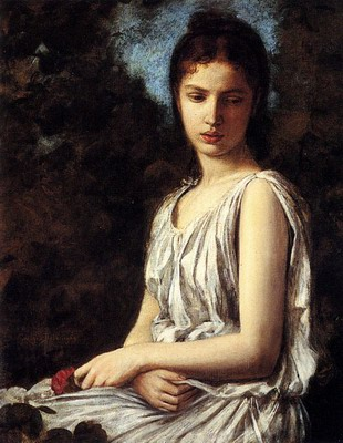A Young Woman In Classical Dress Holding A Red Dress