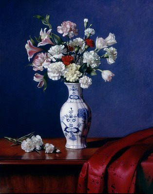 Mixed Bouqet in a Blue Danube Vase