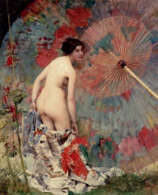 Nude With a japanese umbrella