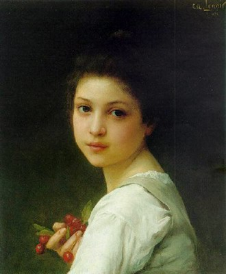 Portrait of a young girl with cherries