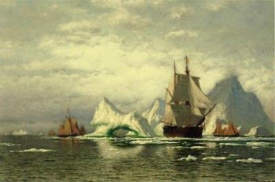 Arctic Whaler Homeward Bound Among the Icebergs