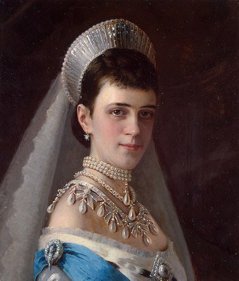 Portrait of Empress Maria Fyodorovna in a Head Dress Decorated with Pearls