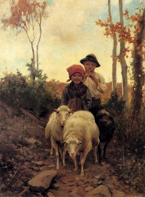 Children With Sheep On A Path