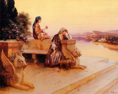Elegant Arab Ladies on a Terrace at Sunset