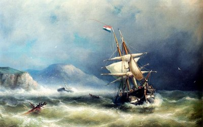 A Barque In Distress Off A Rocky Coast