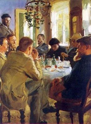 Almuerzo con pintores de Skagen