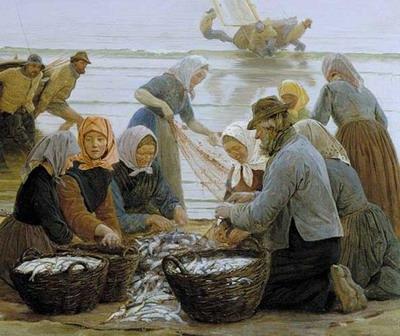 Mujeres y pescadores de Hornbaek