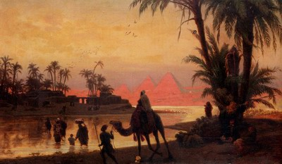 The River Nile With The Gizeh Pyramids