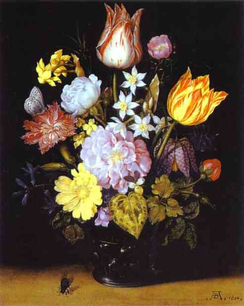 Flowers in a Glass Vase. 1614