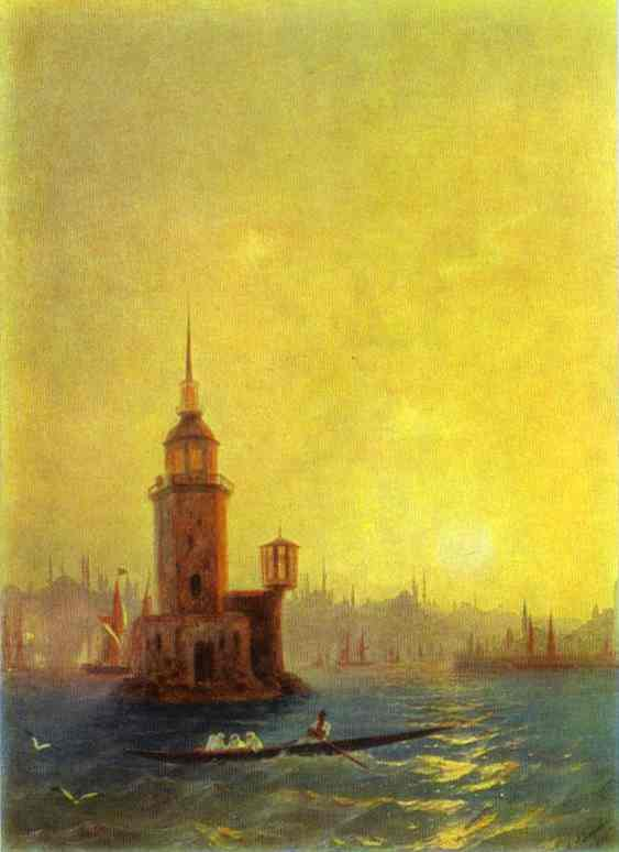 View of the Leander Tower in Constantinople. 1848