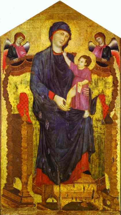 Madonna and Child Enthroned with Two Angels. c.1300