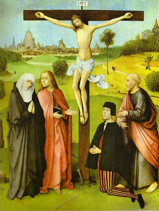 Christ on Cross with Donors and Saints.