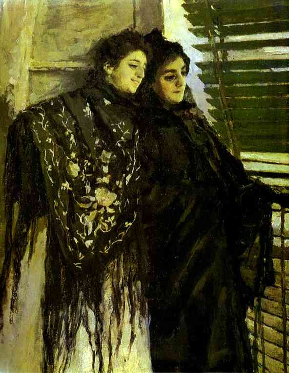 In Front of the Balcony: Leonora and Ampara. Detail. 1888