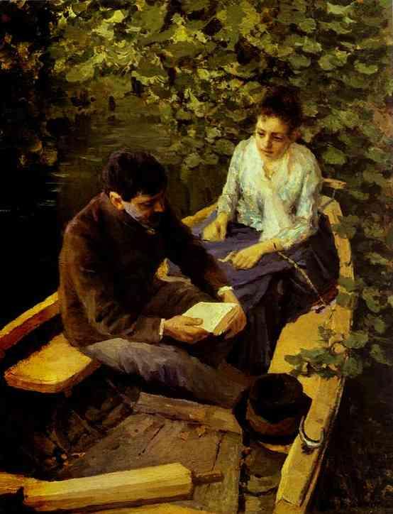 In a Boat (Portrait of the Artist Maria Yakunchikova and Self-Portrait). 1888