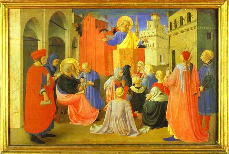 Linaiuoli Tabernacle: Peter Preaching with Mark. Predella. 1433