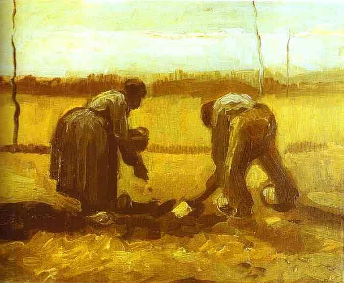 Peasant Man and Woman Planting Potatoes. April 1885