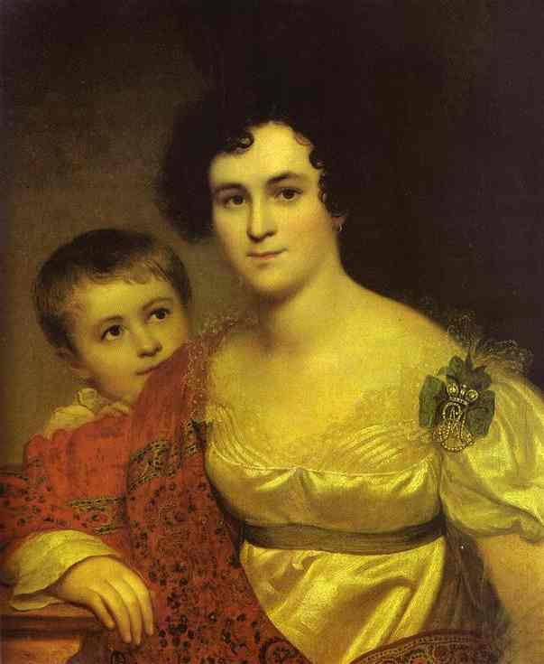 Portrait of A. I. Molchanova with Daughter. 1814