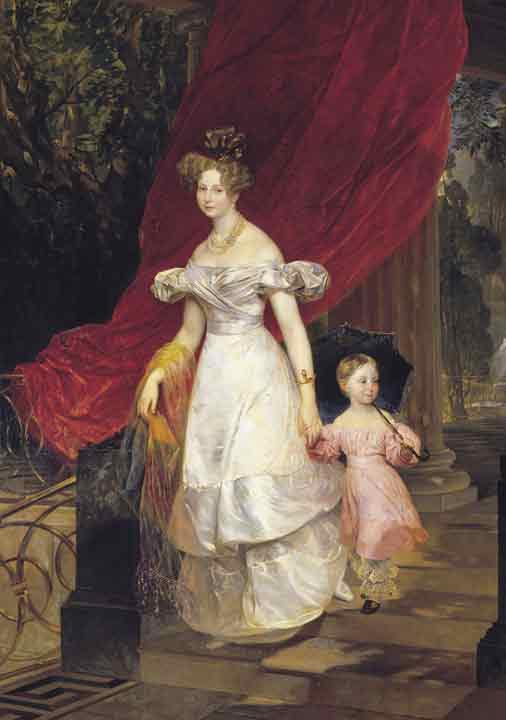 Portrait of Grand Princess Elena Pavlovna and her Daughter Maria, 1830