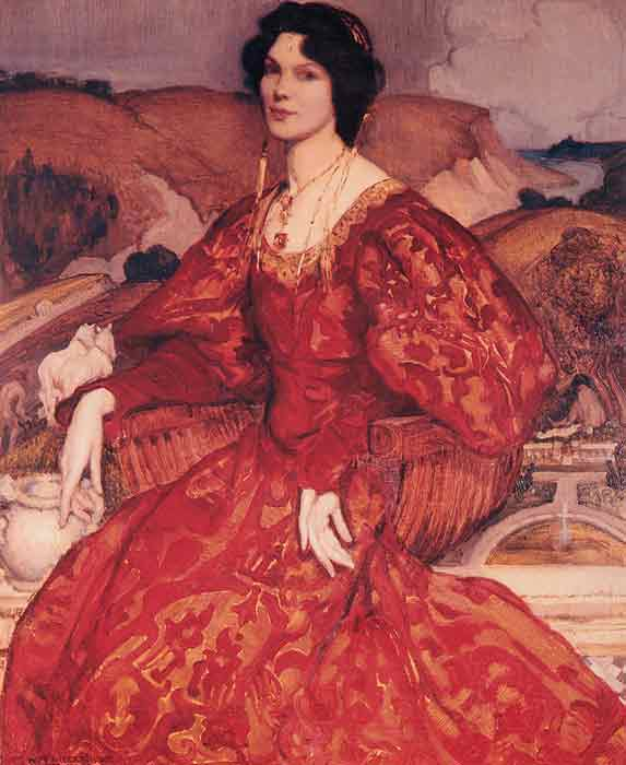 Sybil Walker in Red and Gold Dress, 1905