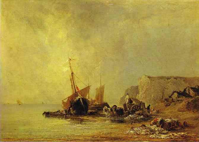 Boats by the Shores of Normandy. c.1825