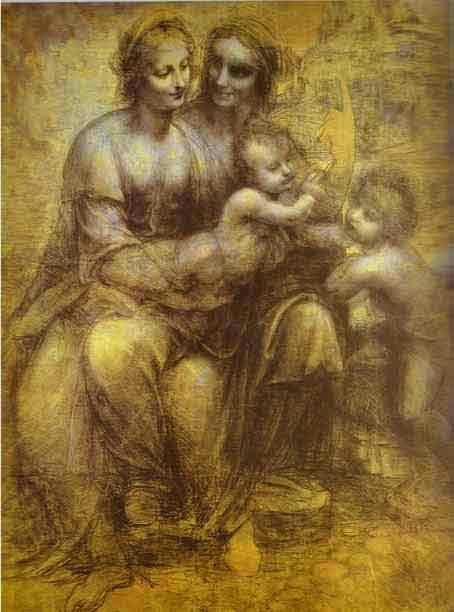 Burlington House Cartoon (Mary, Christ, St. Anne and the Infant St. John). 1499
