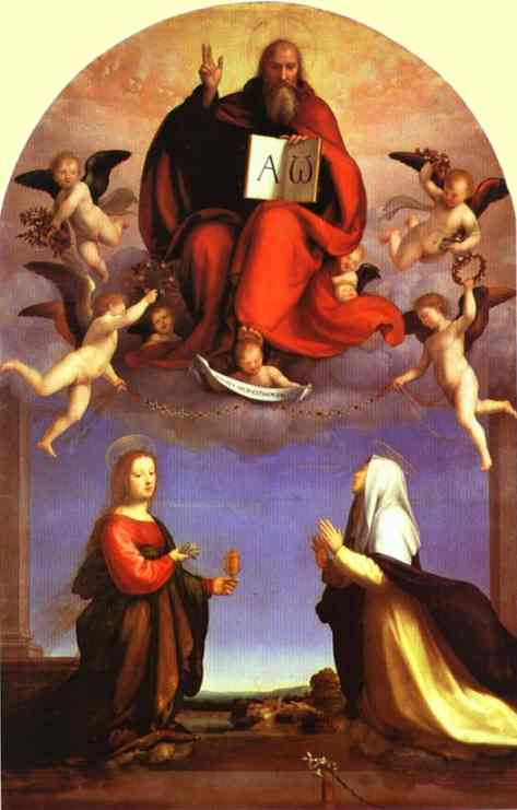 God the Father in Glory with St. Mary Magdalene and St. Catherine of Siena. 1509