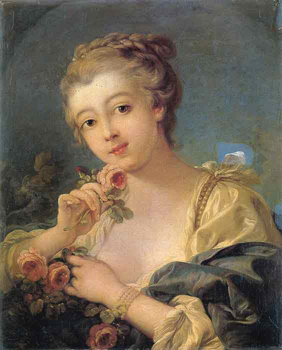 Young Woman with a Bouquet of Roses