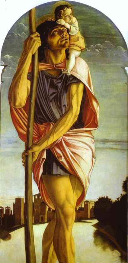 St. Christopher. Detail of panel of St. Vincent Ferrar Polyptych. c. 1464