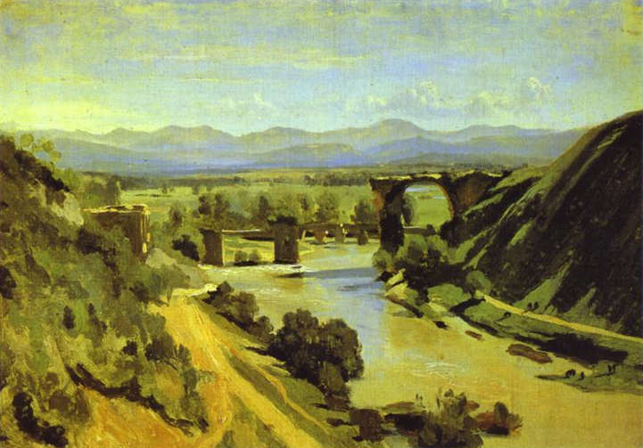 The Bridge at Narni. A study. Oil on paper mounted on canvas 34 x 48 cm. A study done in 1826