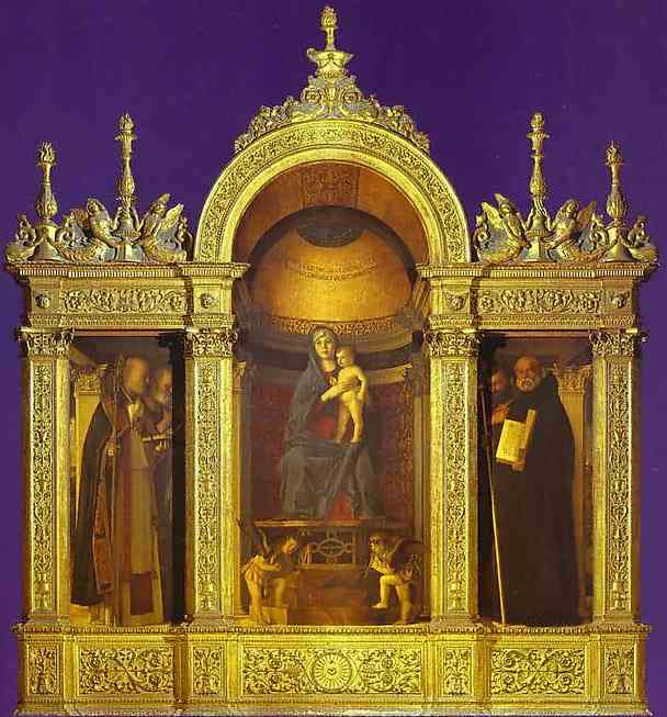 Frari Triptych, general view. Madonna and Child with Two Musical Angels Between SS. Nicholas, Peter,