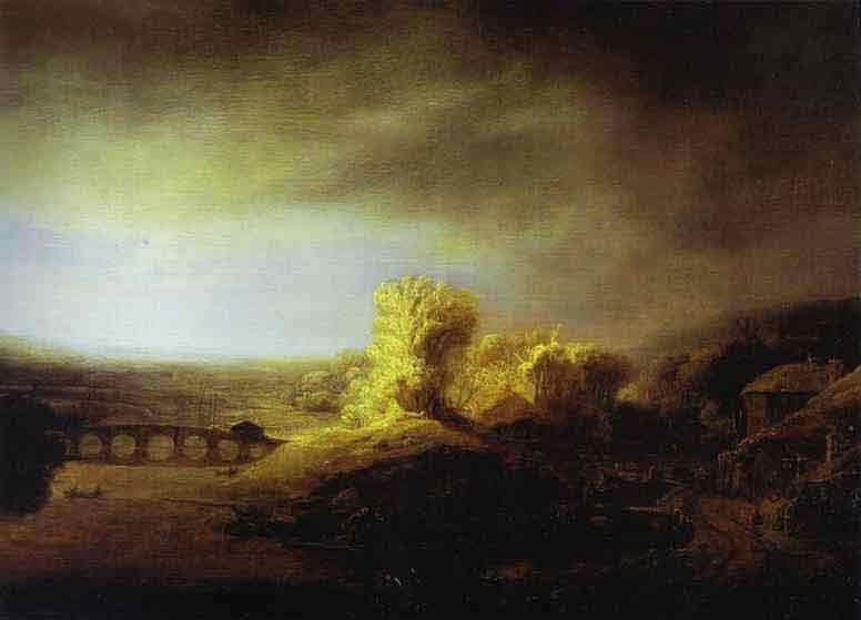 Landscape with a Long Arched Bridge. Late 1630